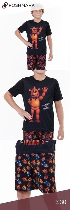 New FIVE NIGHTS AT FREDDY'S 2 Piece Pajama Set Reward your little one for surviving five nights at Freddy's with this charming pajama set that boasts a spooky graphic for eye-catching appeal. Show off your love for the fun (and deadly) Freddy Fazbear's Pizzeria with this charming lightweight pajama set.  Includes tee and shorts 100% polyester Machine wash; tumble dry  size XL new without tags color: black  More kid's clothes in my posh closet @cjrose25. Bundle your likes for a discount…