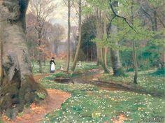 Hans Andersen Brendekilde - A Mother and her Children by a Stream