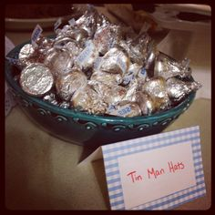 Tin man hats Hershey Kisses. Wizard of Oz party