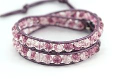 Beaded Leather Wrap Bracelet : Lavender Water. Amethyst and Lilac Leather Bohemian Double Wrap Bracelet with Crackle Beads
