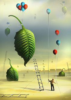 Imagination surrealism huge green leave Folhas by Marcel Caram