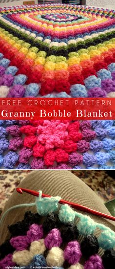 Today we found great granny bobble stitch to crochet blankets or afghans, colourfull rectangles complete all project. Very easy and works quick up, one of the Crochet Quilt, Crochet Squares, Crochet Granny, Crochet Crafts, Crochet Yarn, Crochet Stitches, Crochet Projects, Free Crochet, Crochet Ideas