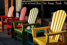 Colorful Adirondack chairs ...