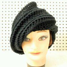 Black Crochet Hat Womens Hat Womens Crochet Hat Steampunk Hat Crochet Beanie Hat Black Hat African Hat JUDY Beanie Hat for Women by strawberrycoutureby #strawberrycouture on #Etsy