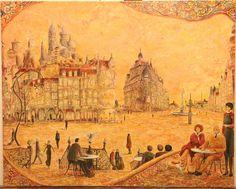 """The wait at Angel's Square"" 2007 Oil on canvas 31 5/8 x 25 3/8 inches ""La espera en la Plaza del Ángel"" 2007 Óleo S/ lienzo 81x 65 cms  Carlos Pardo"