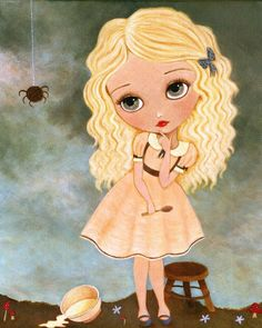 Nursery Rhyme Girl Art  Little Miss Muffet 8x10 by thelittlefox, $16.00 going to have to get this my Mom used to call me this