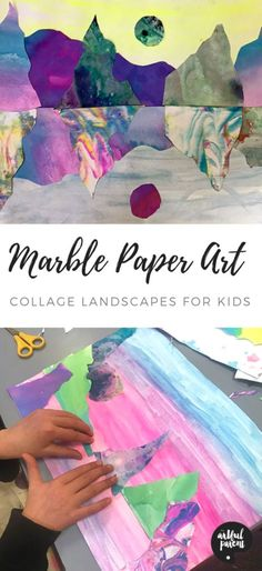 Create beautiful marble paper art landscape collages inspired by Australian artist Kate Shaw in this post by Danielle Falk of Little Ginger Studio. landschaft, How to Make Marble Paper Art Landscape Collages for Kids Art Lessons For Kids, Art For Kids, Art Children, Collage Landscape, Inspiration Artistique, Collage Making, Marble Art, Painted Paper, Art Classroom