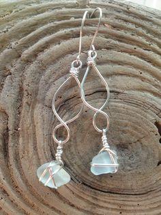 Pale Blue Sea Glass, Beach Glass Dangle Earrings with Handmade, Sterling Silver Infinity Link