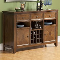 The Alpine Furniture Albany Server - Dark Oak meets all of your storage needs with impressive style. This server made from solid mango wood and rich. Sideboard With Wine Rack, Sideboard Buffet, Portable Kitchen Island, Kitchen Island With Seating, Kitchen Islands, Bachelor Pad Décor, Alpine Furniture, Furniture Decor, Kitchen Buffet
