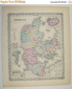 Antique Map of Denmark 1856 Colton Map, Vintage Denmark Map, New Home Gift for Couple, Danish Art Gift, Northern Europe Decor available from OldMapsandPrints.Etsy.com #Denmark #ColtonDenmarkMap