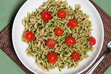 Fusilli with Broccoli Rabe Pesto and Burst Cherry Tomatoes