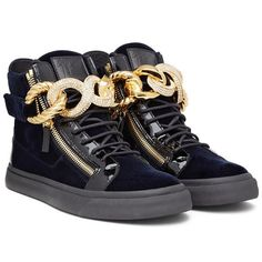 d2f48940f059a Spectacular blue velvet high-top Sneaker with patent leather insert and  chunky gold chain accessory. Giuseppe Zanotti ...