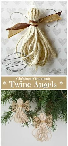 DIY Christmas Ornaments: Twine Angels – myCraftchens DIY Christmas Ornaments: Twine Angels – myCraftchens,Christmas 11 Christmas Ornaments DIY Homemade Simple and Easy Related posts:How To Make A No Sew T-Shirt Tote Bag In Christmas Ornament Crafts, Diy Christmas Gifts, Christmas Angels, Christmas Projects, Holiday Crafts, Christmas Wreaths, Christmas Ideas, Rustic Homemade Christmas Ornaments, Outdoor Christmas