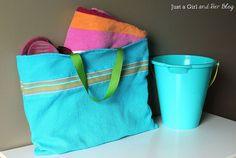 Create a cute tote using just a dish towel!