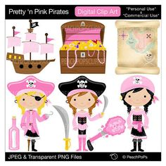 cute girls pirate clip art digital clipart - Pretty n Pink Pirates - Girls Pink Black - Digital Clip Art - Personal Commercial Use