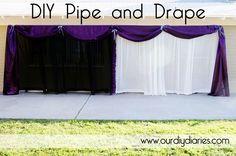 DIY Pipe and Drape. I really like the purple with white. Looks like $70/20 ft