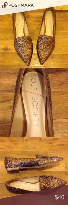 Sole Society Cammila Bronze Glitter Loafers sz 7.5 Great pre-owned condition. Show very minimal wear on bottoms. Glitter in tact. Size 7.5. Sole Society Shoes Flats & Loafers