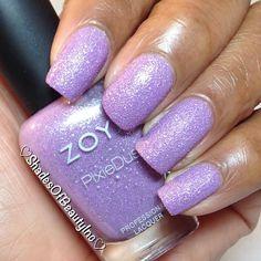 A great Springtime @texturedpolish is @Zoya Nail Polish Stevie, a beautiful lilac with silver shimmer. #nailpolishswatches #nailpolishaddicts #nailblogger #nailpolish