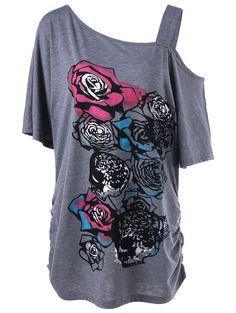 Skew Collar Rose Print Shirred T-Shirt