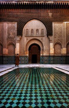 ALI BEN YOUSSEF MEDERSA was an Islamic college in Marrakech, and the largest in all of Morocco.  Named after the Almoravid sultan Ali ibn Yusuf and founded during the 14th century by the Marinid sultan Abu al-Hassan.
