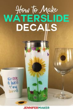Waterslide Decal Tutorial for Glitter Tumblers, Mugs, and Glasses - learn how to make printable inkjet waterslide decals and cut them on your Cricut! Wine Bottle Crafts, Mason Jar Crafts, Mason Jar Diy, Diy Tumblers, Custom Tumblers, Glitter Tumblers, Acrylic Tumblers, Personalized Tumblers, How To Make Glitter