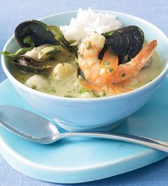 Thai Green Curry with Seafood. This chowder is made with coconut milk instead of cream.