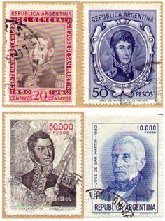 Estampillas postales con el retrato del General San Martín.   -lbk-