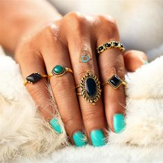 5PCS/Set Gold Color Turkish Flower Knuckle Ring Sets New Design Fashion Bohemian Crystal Midi Rings for Women Man Jewelry