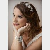 Jewelled Rose Pearl Wedding Bracelet