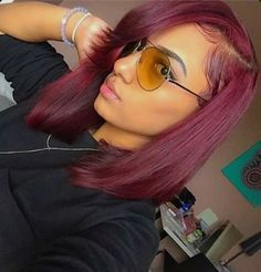 This shoulder length Bob in this color - Poppin!