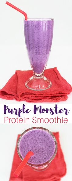 Purple Monster Protein Smoothie Recipe. This is my favorite protein smoothie recipe lately. There's just something about the Creamy Vanilla protein and berries together that is absolute perfection. I especially love it post workout, and it's really bright purple, which is fun. Hey, real food can be fun too.