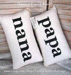 Nana & Papa Pillows FREE SHIPPING - Decorative Pillow- Nana Papa- Nana  Papa gift, Grandparent's Gift- Father's Day Gift on Etsy, $70.00