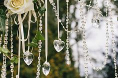 Romantic outdoor wedding - roses and crystals - Oh Happy Day! Rose Wedding, Happy Day, Wind Chimes, Wedding Decorations, Roses, Romantic, Crystals, Outdoor Decor, Home Decor