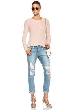 FRAME DENIM Le Garcon Destroyed Slim Boyfriend Jeans Pants Lucielle 27 $239 #FrameDenim #Boyfriend