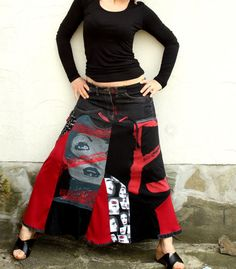 Crazy pop art recycled long jeans skirt by jamfashion on Etsy