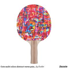 Shop Cute multi colors abstract waves painting Ping-Pong paddle created by ForArt. Ping Pong Table Tennis, Ping Pong Paddles, Abstract Waves, Artwork Design, Two By Two, Colors, Cute, Prints, Painting