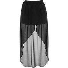 Miss Selfridge Panty Drop Back Skirt (16 AUD) ❤ liked on Polyvore featuring skirts, bottoms, saias, faldas, black, chiffon knee length skirt, miss selfridge and chiffon skirt