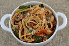 Linguine with Roasted Plum Tomatoes, Bacon, Baby Spinach and Garlic Tops
