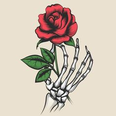 Buy Skeleton Hand with Rose Tattoo Style by vectortatu on GraphicRiver. Skeleton hand with rose in tattoo style. Red rosebud in bony fingers vector illustration Skull Rose Tattoos, Flower Tattoos, Body Art Tattoos, Hand Holding Rose, Hands Holding Flowers, Rose In Hand, Skeleton Hand Tattoo, Skeleton Hands, Side Hand Tattoos