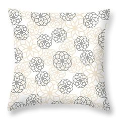 """Tan And Silver Floral Pattern 14"""" x 14"""" Throw Pillow by Christina Rollo.  Our throw pillows are made from 100% cotton fabric and add a stylish statement to any room.  Pillows are available in sizes from 14"""" x 14"""" up to 26"""" x 26"""".  Each pillow is printed on both sides (same image) and includes a concealed zipper and removable insert (if selected) for easy cleaning."""