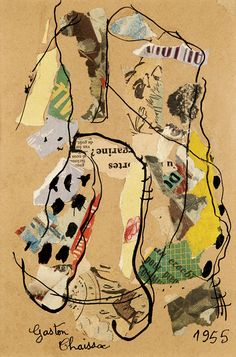 Gaston Chaissac No truly a painting (collage) but too lazy to start another board. Art Du Collage, Collage Drawing, Mixed Media Collage, Painting Collage, Abstract Drawings, Art Drawings, Abstract Art, Collages, Art Obey