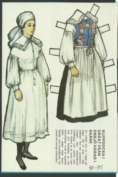 Costume from The Onsjo Harad Skane District of Sweden Vintage Swedish Paper Doll | eBay