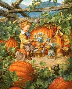 """Peter, Peter Pumpkin Eater,"" by Scott Gustafson, from Favorite Nursery Rhymes by Mother Goose. We still have some available litho prints in stock - see our site for details! Art And Illustration, Easter Illustration, Halloween Illustration, Fairytale Art, Jolie Photo, Halloween Art, Nursery Rhymes, Oeuvre D'art, Vintage Art"