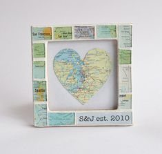 Anniversary Gift for Him Atlas Map Custom Text Photo Picture Frame on Etsy, $50.00