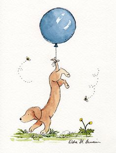 Adorable. Dachshund Art Print- Carried Away Dachshund with Pink Balloon- 8X10 Archival Print- Nursery Wall Art. $18.00, via Etsy.