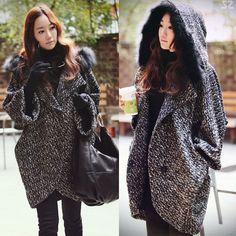 £55.00 Womens Luxurious Winter Wool Blend Coats Batwing Hoodie Coat Jacket Outwear HOT