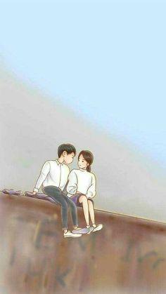 Descendants of the Sun 태양의 후예 Love Cartoon Couple, Cute Couple Art, Cute Love Cartoons, Anime Love Couple, Cute Anime Couples, Desendents Of The Sun, Descendants Of The Sun Wallpaper, Hj History, Wallpaper Animes