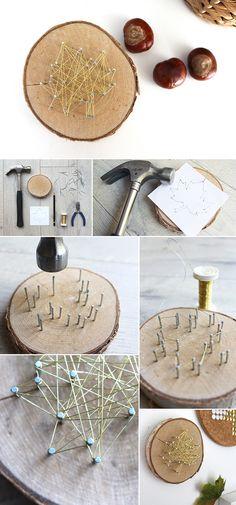 DIY, decoration, autum, wire, wood, crafting, leave, basteln, Herbst, Deko, Draht, Holz, Gold, Blatt
