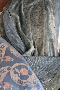 Fortuny's father had a collection of antique fabrics. He uses patterns from the 16th -17th century in his creations