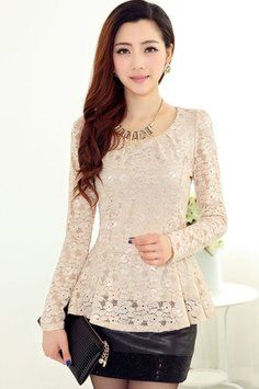 Light Khaki Oasap Sweet Lace Top $31